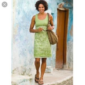 Athleta Vyasa Double Layer Dress Tigerlily Green S